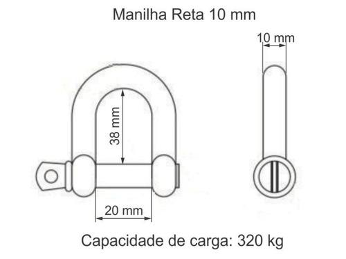 manilha reta 10 mm em aço inoxidável 316 com pino roscado