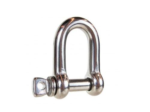 manilha reta 6mm em aço inoxidável 316 com pino roscado