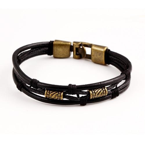 manilla cuero cuerda aleación clásica 22cm - color negro