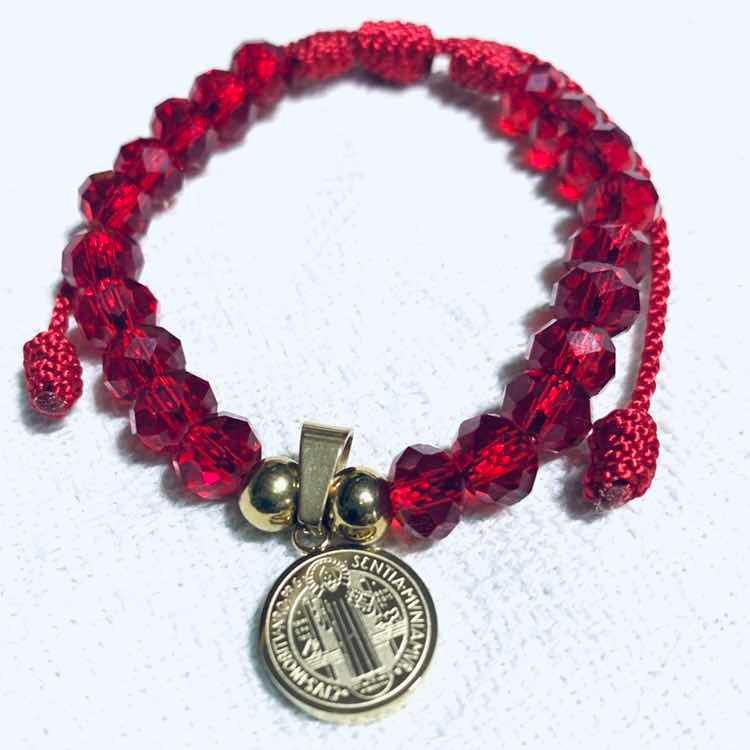 b12116778711 Manilla En Murano Rojo Y Medalla San Benito En Acero