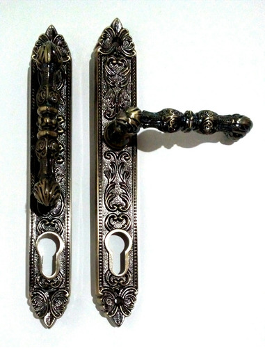 manilla puerta principal colonial ornamental  tono bronce