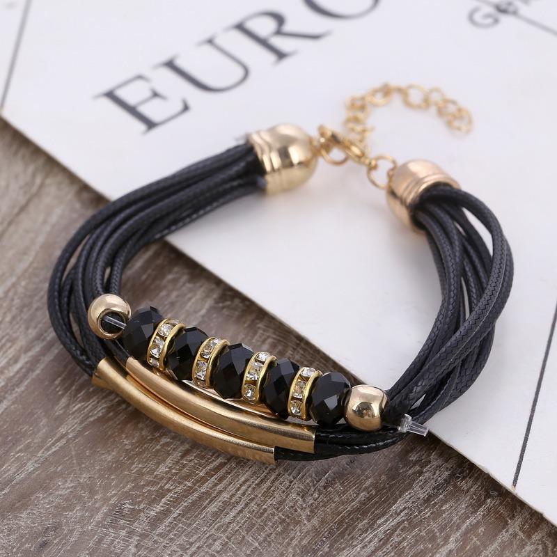 60d4ec66fc62 manilla pulsera brazalete cuerda cuero cuentas negras mujer. Cargando zoom.
