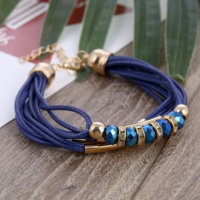 eb0d889fa17c manilla pulsera brazalete cuerda de cuero cuentas azul mujer. Cargando zoom.