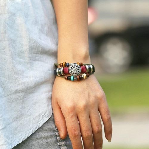 manilla pulsera cuero caballero dama brazalete hombre mujer