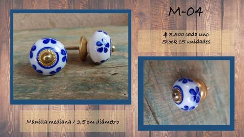 manilla tirador cerámica loza porcelana pintada. mediano.