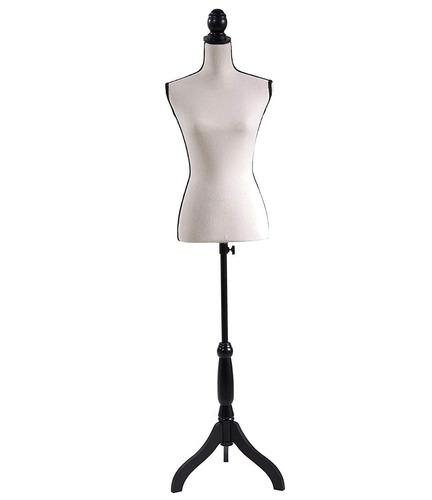 maniquí torso femenino - lino beige vivos negros tripie ajst