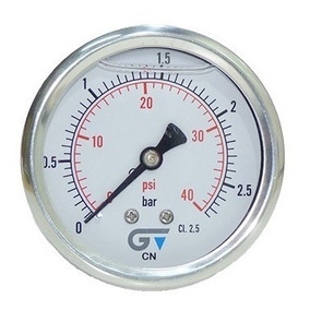 Manômetro Dn63mm 0 A 2,5 Bar / 40 Psi 1/4 Bsp Horizontal