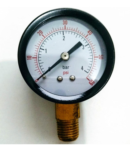 manômetro vertical rosca 1/4 npt 0 á 4 bar 60 psi ø 50 mm