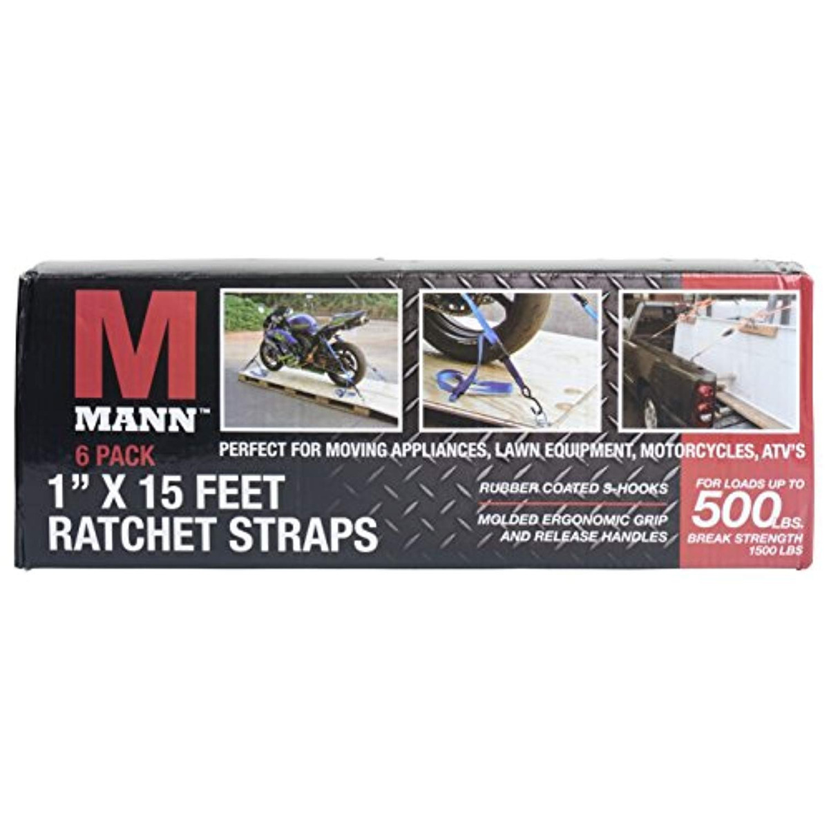 Mann Ratchet Tie Downs Straps with S-hooks 1-Inch x 15-Feet 500 Lbs Load Cap 1500 Lb Break Strength 2-Pack Set