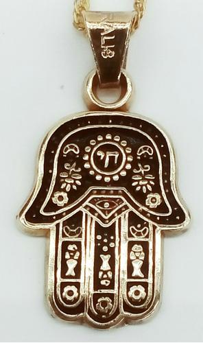 mano de fátima en chapa de oro con cadena tambien chapa