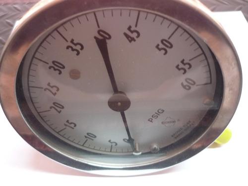manometro 0-60 psi dial 4 1/2 conexion baja 1/4npt  65$