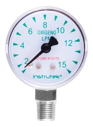 manómetro 1.5 plg oxígeno medicinal 15 lpm (litros x minuto)