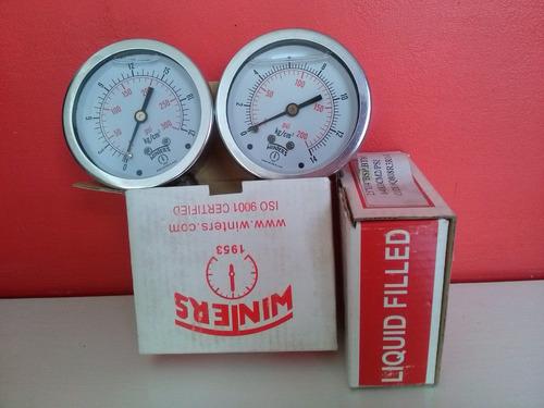 manometro acero inox.100 mm - salida inf. 14 bar - baño glic