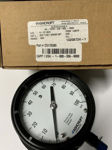 manometro ashcroft size: 4-1/2 inch  rango 100 psi
