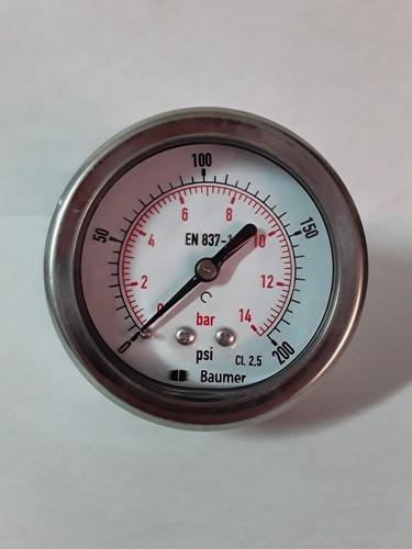 manometro con glicerina 0-200psi dial 2 1/2 conexión trasera