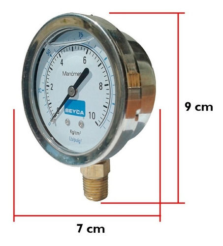 manometro con glicerina beyca 10 kg/cm2 intemperie 10 bares