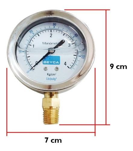 manometro con glicerina beyca 4 kg/cm2 intemperie 4  bar