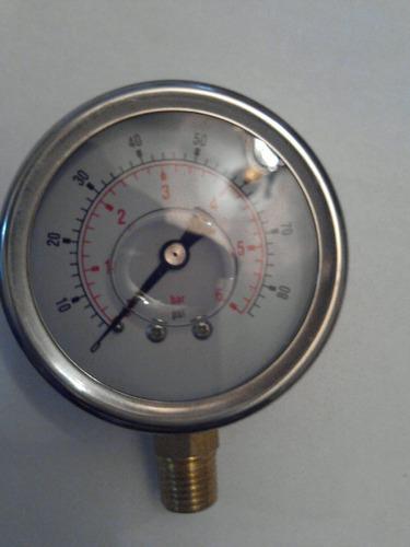 manómetro con glicerina de 0bar a 6 bar ó 0psi a 80psi nuevo