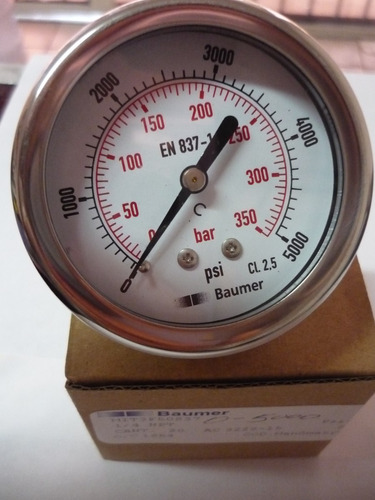 manometro de 0-5000 psi, conexión trasera. 1/4 baumer. 16$