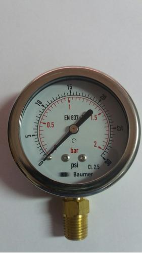 manometro de 0 a 30 psi  dial 2 1/2 con glicerina