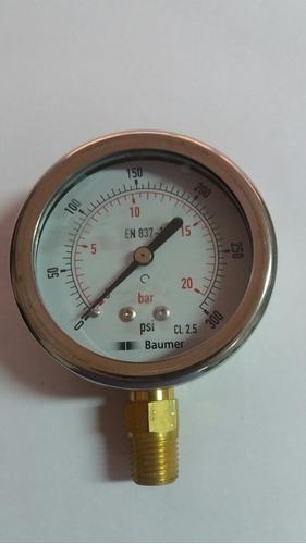manometro de 0 a 300 psi dial 2 1/2 con glicerina