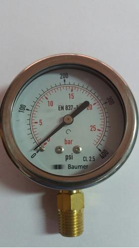 manometro de 0 a 400 psi dial 2 1/2 con glicerina