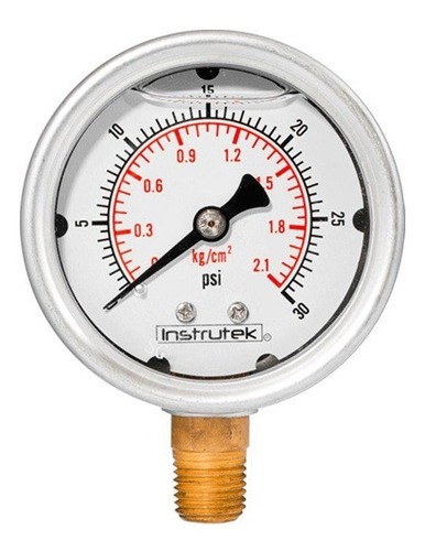 manómetro inox glicerina 2.5 plg , 30 psi (aire, agua)