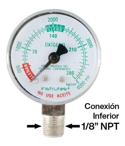 manómetro oxígeno medicinal 1.5 plg alta presión 4000 psi