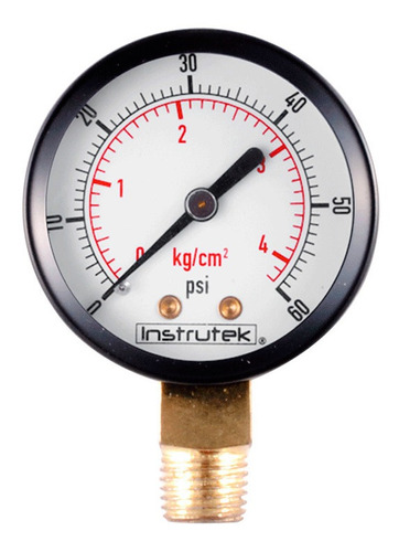 manómetro para compresor carátula 2, conex inf 1/4, 60 psi
