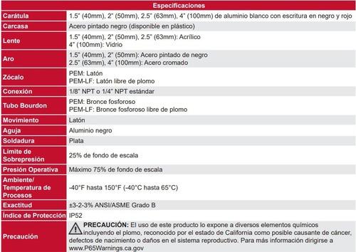 manómetro winters pem caja 38mm economico r1/8 rangos
