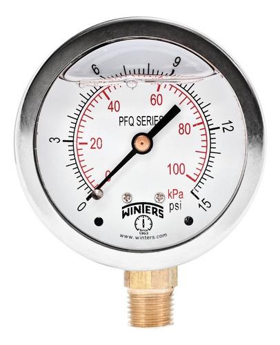 manómetro winters pfq caja 100mm inox. glicerina r1/2 rangos