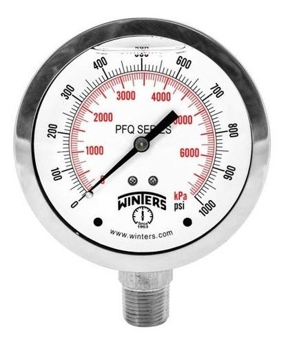 manómetro winters pfq caja 100mm total inox.  r1/2 rangos