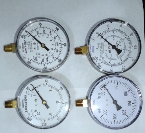 manómetros, 0-300 psi, dial 3 plg conexión de bronce 1/4 npt