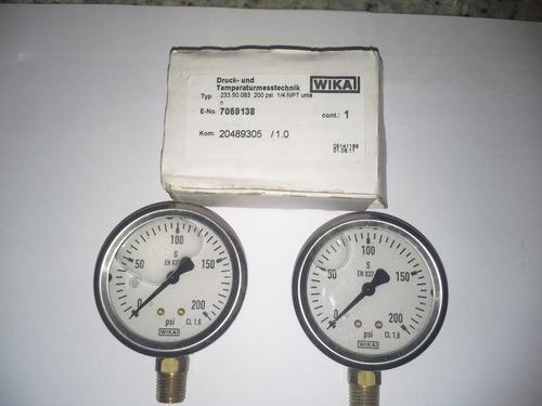 manometros o medidores de presion  0 a 200 psi marca wika