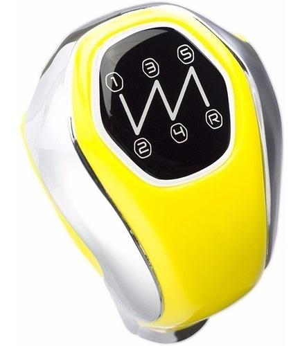 manopla bola câmbio universal 5 marchas amarela e cromada