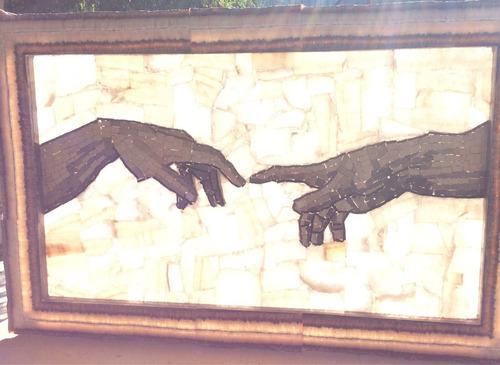 manos de dios y adan. la creacion de miguel angel.