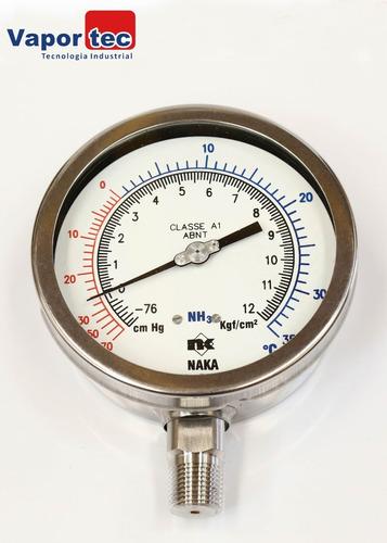 manovacuômetro reto 4  (-76cm ) (+12kg) 1/2 inox amon