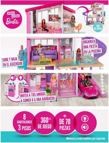 mansion barbie dreamhouse, casa de los sueños - mattel