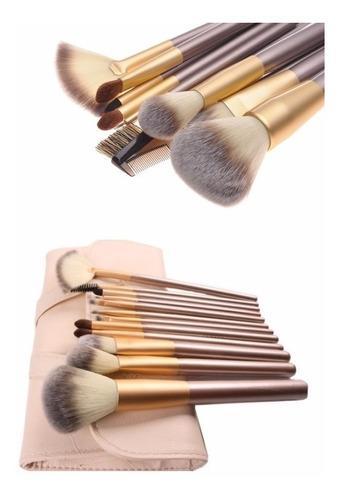 manta 12 pinceles, maquillaje profesional pelo natural
