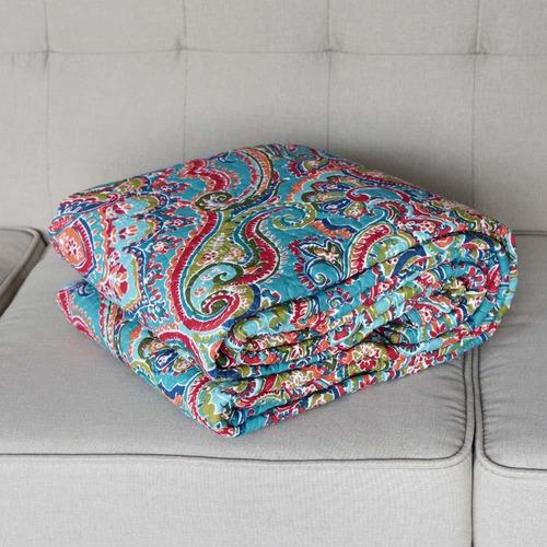 manta acolchada para sofá cama, floral europeo magníf...