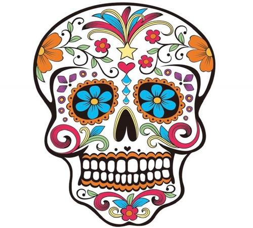manta calavera blanco mexicana + tatoo dia muertos altar