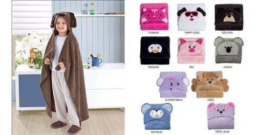 manta cobertor bebê infantil capuz bichinho bouton novidade