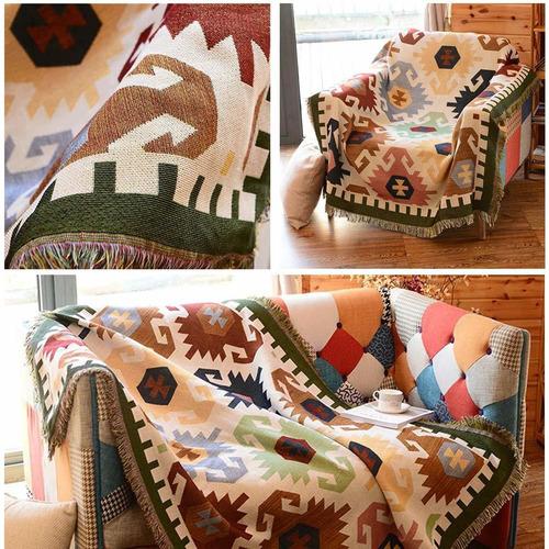 manta colorida con flecos para el sofá cama suavemente...