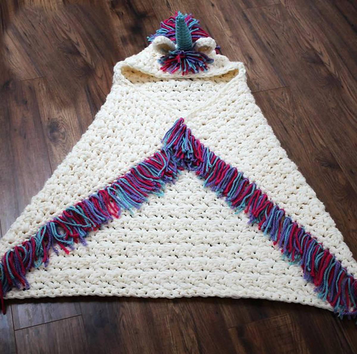 Manta Con Capucha Unicornio - Adultos / Niños - Crochet - $ 2.500,00 ...
