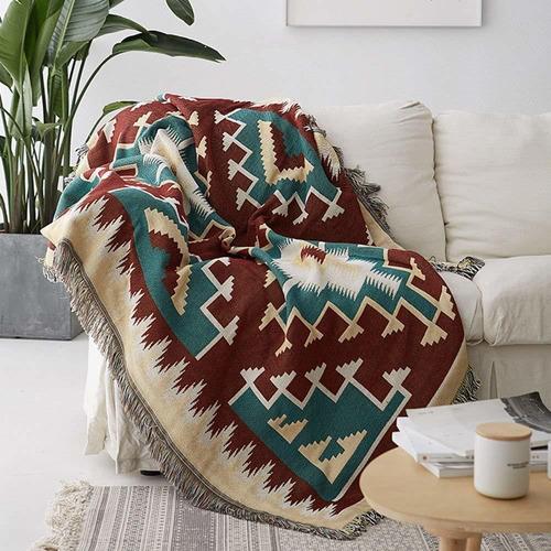 manta con flecos para el sofá cama suavemente decorati...