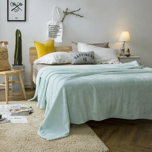 manta de franela, cama de sofá de microfibra liviana d...