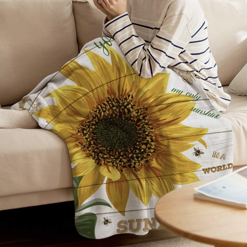 manta de girasol para cama sofá sofá mantas de velló...