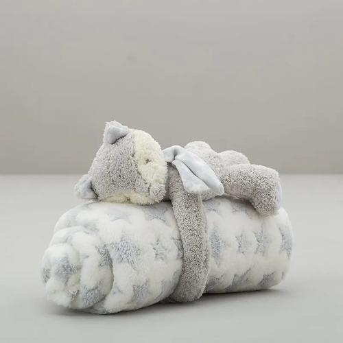 manta de plush arredo con almohadón animales gris