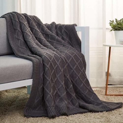 manta de punto con sherpa para cama y sofá  x  pulgada...