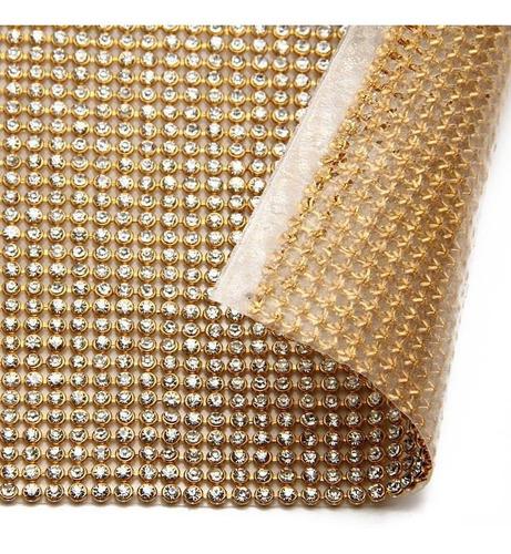 manta de strass 22x1,20 1 linha dourada ou prata